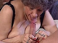 Aged mature in stockings rides cock
