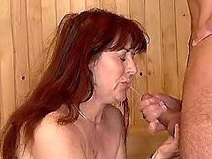 Old radhead whore gets hot facial