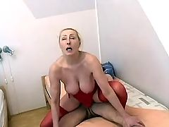 Mom in red stockings gets drilling