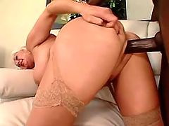 Old whore with big ass riedes huge black cock
