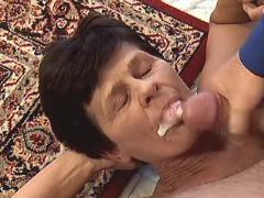 Brunette granny fucks n gets facial