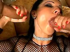 Brunette milf sucking three cocks