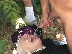 Granny fucks n gets facial outdoor