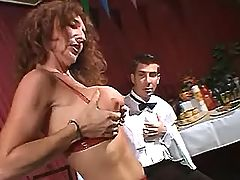 Mature whore does double blowjob