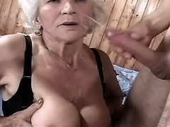 Mature gets cumshot on face n tits