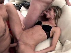 Mature sucks and fucks in gangbang