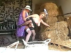 Mom in stockings has sex on hayloft