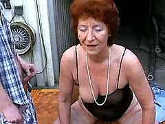 Crazy old sluts get it outdoors