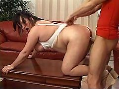 Milf has hard on table and on floor