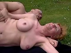 Man drills gandma in stockings outdoor