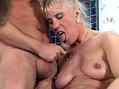Brunette and blonde moms in orgy