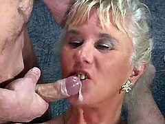 Four guys jizz on faces of matures