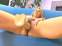 Blonde mature sucks big black dick