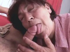 Aged brunette mature does blowjob