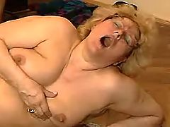 Fat mom fucks on table and on floor