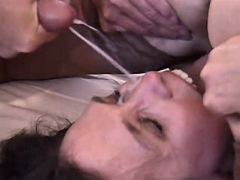 Man fucks two matures cums on face