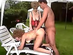 Man fucks two old sluts and jizzes